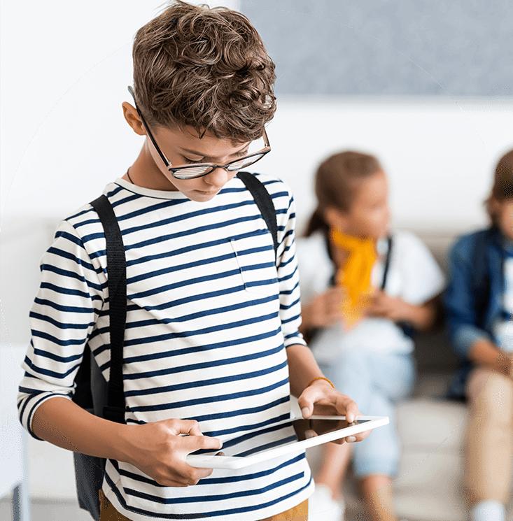 leerling ziet op zijn device de leerdoelen en zijn portfolio
