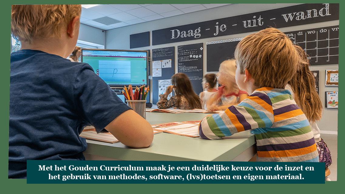 Met het Gouden Curriculum maak je een duidelijke keuze voor de inzet en het gebruik van methodes, software, (lvs)toetsen en eigen materiaal.
